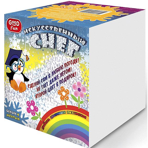 Набор для опытов GOOD FUN Искусственный снег. ЖелтыйХимия и физика<br>Характеристики:<br><br>• возраст: от 8 лет<br>• в наборе: полиакрилат натрия; краситель; мерный стакан; 2 формы для снега; мерная ложечка; перчатки; инструкция.<br>• упаковка: картонная коробка<br>• размер упаковки: 12,5х12,5х12,5 см.<br>• вес: 213 гр.<br><br>С набором для опытов «Искусственный снег» от Good Fun (Гуд Фан) можно провести незабываемый эксперимент и увидеть своими глазами, как полимерный порошок за три минуты превращается в рассыпчатый сугроб.<br><br>Набор позволит юному экспериментатору приготовить своими руками искусственный снег желтого цвета. Опыт несложен в проведении, так что ребенок вполне справится с ним самостоятельно. Превращение основано на уникальных абсорбирующих свойствах полиакрилата натрия, который способен поглощать объем жидкости в 200-300 раз больше собственной массы.<br><br>Полученный искусственный снег безопасен для здоровья. Он не тает и может использоваться для декорирования поделок.<br><br>Набор для опытов GOOD FUN «Искусственный снег. Желтый» можно купить в нашем интернет-магазине.<br>Ширина мм: 125; Глубина мм: 125; Высота мм: 125; Вес г: 213; Возраст от месяцев: 96; Возраст до месяцев: 2147483647; Пол: Унисекс; Возраст: Детский; SKU: 7379049;