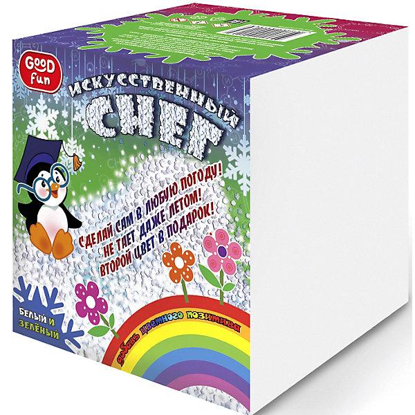 Набор для опытов GOOD FUN Искусственный снег. ЗеленыйХимия и физика<br>Характеристики:<br><br>• возраст: от 8 лет<br>• в наборе: полиакрилат натрия; краситель; мерный стакан; 2 формы для снега; мерная ложечка; перчатки; инструкция.<br>• упаковка: картонная коробка<br>• размер упаковки: 12,5х12,5х12,5 см.<br>• вес: 213 гр.<br><br>С набором для опытов «Искусственный снег» от Good Fun (Гуд Фан) можно провести незабываемый эксперимент и увидеть своими глазами, как полимерный порошок за три минуты превращается в рассыпчатый сугроб.<br><br>Набор позволит юному экспериментатору приготовить своими руками искусственный снег зеленого цвета. Опыт несложен в проведении, так что ребенок вполне справится с ним самостоятельно. Превращение основано на уникальных абсорбирующих свойствах полиакрилата натрия, который способен поглощать объем жидкости в 200-300 раз больше собственной массы.<br><br>Полученный искусственный снег безопасен для здоровья. Он не тает и может использоваться для декорирования поделок.<br><br>Набор для опытов GOOD FUN «Искусственный снег. Зеленый» можно купить в нашем интернет-магазине.<br>Ширина мм: 125; Глубина мм: 125; Высота мм: 125; Вес г: 213; Возраст от месяцев: 96; Возраст до месяцев: 2147483647; Пол: Унисекс; Возраст: Детский; SKU: 7379050;