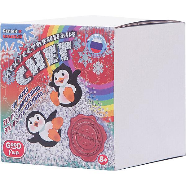 Набор для опытов GOOD FUN Искусственный снег. КрасныйХимия и физика<br>Характеристики:<br><br>• возраст: от 8 лет<br>• в наборе: полиакрилат натрия; краситель; мерный стакан; 2 формы для снега; мерная ложечка; перчатки; инструкция.<br>• упаковка: картонная коробка<br>• размер упаковки: 12,5х12,5х12,5 см.<br>• вес: 213 гр.<br><br>С набором для опытов «Искусственный снег» от Good Fun (Гуд Фан) можно провести незабываемый эксперимент и увидеть своими глазами, как полимерный порошок за три минуты превращается в рассыпчатый сугроб.<br><br>Набор позволит юному экспериментатору приготовить своими руками искусственный снег красного цвета. Опыт несложен в проведении, так что ребенок вполне справится с ним самостоятельно. Превращение основано на уникальных абсорбирующих свойствах полиакрилата натрия, который способен поглощать объем жидкости в 200-300 раз больше собственной массы.<br><br>Полученный искусственный снег безопасен для здоровья. Он не тает и может использоваться для декорирования поделок.<br><br>Набор для опытов GOOD FUN «Искусственный снег. Красный» можно купить в нашем интернет-магазине.<br>Ширина мм: 125; Глубина мм: 125; Высота мм: 125; Вес г: 213; Возраст от месяцев: 96; Возраст до месяцев: 2147483647; Пол: Унисекс; Возраст: Детский; SKU: 7379051;