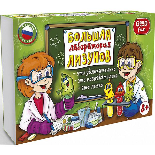Набор для опытов GOOD FUN Большая лаборатория лизуновХимия и физика<br>Характеристики:<br><br>• возраст: от 8 лет<br>• в наборе: поливиниловый спирт (порошок); тетраборат натрия (порошок); глицерин; краситель зеленый; краситель красный; краситель желтый (натрий флуоресцеин); люминофор; пластиковый мерный стаканчик; пластиковый цветной стаканчик; перчатки; мерная ложечка; палочка для размешивания; пипетка Пастера.<br>• дополнительно потребуется: стеклянная банка объемом не менее 0,5 л.<br>• упаковка: картонная коробка<br>• размер упаковки: 17х28х8 см.<br>• вес: 417 гр.<br><br>Развивающий набор «Большая лаборатория лизунов» от Good Fun (Гуд Фан) предназначен для демонстрации необычных свойств полимерного вещества. С помощью набора можно создать 6 настоящих лизунов весом порядка 130 г каждый: желтого, красного, зеленого, а также светящегося в темноте, светящегося в ультрафиолетовых лучах.<br><br>Классический лизун во всем мире известен как слайм (англ. Slime). И он не шарик, а баночка с прикольной вязкой слизью, обладающей свойствами неньютоновской жидкости. Если слайм оставить в покое, он начинает растекаться по поверхности, но потом легко собирается рукой.<br><br>Все ингредиенты набора абсолютно безопасны при использовании по назначению.<br><br>Набор для опытов GOOD FUN «Большая лаборатория лизунов» можно купить в нашем интернет-магазине.<br><br>Ширина мм: 170<br>Глубина мм: 280<br>Высота мм: 80<br>Вес г: 417<br>Возраст от месяцев: 96<br>Возраст до месяцев: 2147483647<br>Пол: Унисекс<br>Возраст: Детский<br>SKU: 7379052