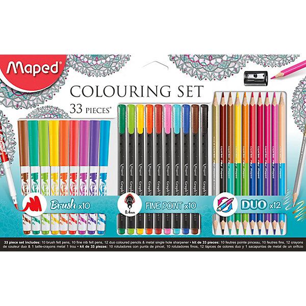 Набор для рисования, 33 предмета, MapedШкольные аксессуары<br>Набор для рисования 33 предмета, включает 10 фломастеров-кистей, 10 капиллярных ручек, 12 двусторонних цветных карандашей Duo (всего 24 цвета) и металлическую точилку для карандашей. Отличное качество в ярких тонах! Яркие и насыщенные цвета. Идеальный подарочный набор для любого праздника! Идеально подходит для рисования и скетчей, раскрасок для детей и взрослых! Фломастеры-кисти с ультра-гибким наконечиком, можно рисовать тонкие и толстые линии. Толщина линии капиллярных ручек: 0,4 мм.<br>Ширина мм: 241; Глубина мм: 375; Высота мм: 20; Вес г: 396; Возраст от месяцев: 60; Возраст до месяцев: 2147483647; Пол: Унисекс; Возраст: Детский; SKU: 7379378;