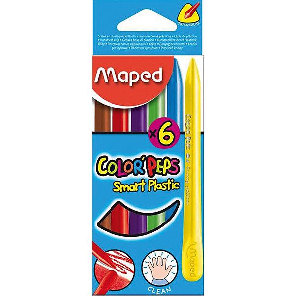 Пластиковые мелки COLORPEPS, 6 цветов, MapedМасляные и восковые мелки<br>Пластиковые мелки серии COLORPEPS в картонном футляре. В коробке 6 штук. Серия ярких и удобных для раскрашивания цветных мелков. Соответствуют всем европейским и российским требованиям. Мелки имеют эргономичную форму. Мелки треугольной формы легче держать в руке, проще и удобнее использовать. Пластиковые мелки с 1 острым краем и 1 плоским краем. Специальная формула - руки остаются чистыми! Мелки имеют длительный срок службы, рисуют в 3 раза дольше, чем обычные мелки. Легко и удобно затачивать.<br>Ширина мм: 11; Глубина мм: 120; Высота мм: 112; Вес г: 60; Возраст от месяцев: 24; Возраст до месяцев: 2147483647; Пол: Унисекс; Возраст: Детский; SKU: 7379386;