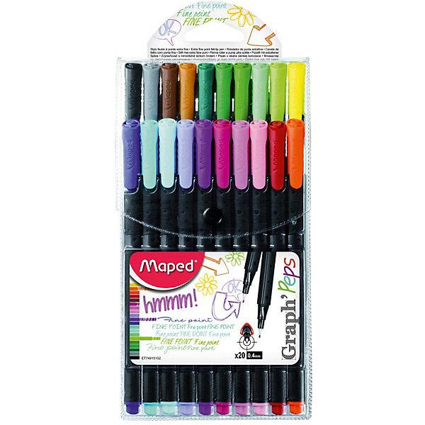 Набор капиллярных ручек GRAPH PEPS, 20 цветов, 0,4 мм, MapedПисьменные принадлежности<br>Набор капиллярных ручек серии GRAPH PEPS. Толщина линии - 0,4 мм. Эргономичная зона обхвата. В наборе 20 цветов. Насыщенные, хорошо пигментированные оттенки. Идеально для раскрасок, скетчей, рисования и детского творчества.<br><br>Ширина мм: 198<br>Глубина мм: 27<br>Высота мм: 104<br>Вес г: 146<br>Возраст от месяцев: 60<br>Возраст до месяцев: 2147483647<br>Пол: Унисекс<br>Возраст: Детский<br>SKU: 7379388