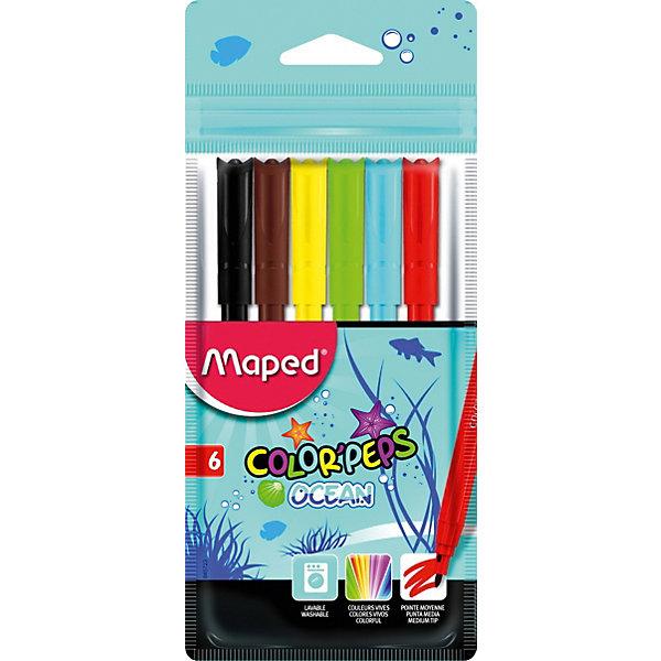 Фломастеры COLORPEPS OCEAN, 6 цветов, MapedФломастеры<br>Фломастеры серии COLORPEPS OCEAN с заблокированным пишущим узлом - суперсмываемые в пакете с подвесом. В наборе 6 штук. Яркие и насыщенные цвета. Бюджетное предложение. Смываются практически со всех видов ткани. Соответствуют действующим российским и европейским стандартам качества игрушек. Вентилируемый колпачок. Идеальны для раскрашивания, рисования и скетчей.<br>Ширина мм: 11; Глубина мм: 71; Высота мм: 177; Вес г: 70; Возраст от месяцев: 36; Возраст до месяцев: 2147483647; Пол: Унисекс; Возраст: Детский; SKU: 7379390;