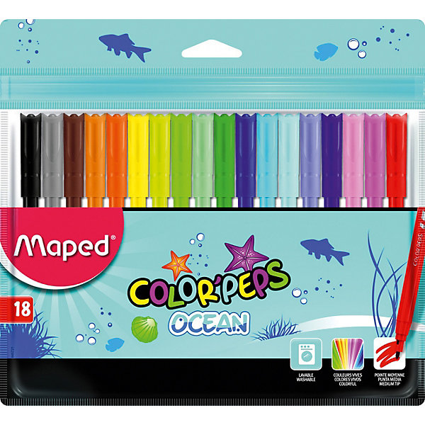 Фломастеры COLORPEPS OCEAN, 18 цветов, MapedФломастеры<br>Фломастеры серии COLORPEPS OCEAN с заблокированным пишущим узлом - суперсмываемые в пакете с подвесом. В наборе 18 штук. Яркие и насыщенные цвета. Бюджетное предложение. Смываются практически со всех видов ткани. Соответствуют действующим российским и европейским стандартам качества игрушек. Вентилируемый колпачок. Идеальны для раскрашивания, рисования и скетчей.<br>Ширина мм: 9; Глубина мм: 203; Высота мм: 177; Вес г: 121; Возраст от месяцев: 36; Возраст до месяцев: 2147483647; Пол: Унисекс; Возраст: Детский; SKU: 7379391;