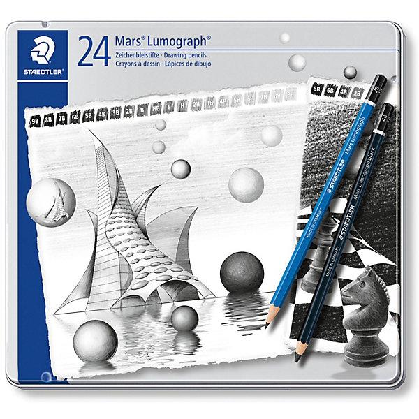 Карандаши чернографитовые Mars Lumograph, 24 штуки, (9B-HB, F, H-9H)/(8B, 6B, 4B, 2B), StaedtlerПисьменные принадлежности<br>Набор чернографитовых карандашей Mars Lumograph 100. 24 штуки в металлической упаковке с подвесом, 22 разных степеней твердости. Содержит 20 штук карандашей с корпусом синего цвета (9B, 8B, 7B, 6B, 5B, 3B, 2B, HB, F, H, 2H, 3H, 4H, 5H, 6H, 7H, 8H, 9H) и 4 карандаша с корпусом черного цвета (8B, 6B, 4B, 2B). Диаметр грифеля - 2 мм. Высококачественные чернографитовые карандаши для письма, черчения и набросков на бумаге и матовой чертежной пленке. Непревзойденная устойчивость к поломке благодаря специально разработанному составу  грифеля и особой проклейке. Четкое нанесение линий. При производстве используется древесина сертифицированных и специально подготовленных лесов.<br>Ширина мм: 199; Глубина мм: 187; Высота мм: 13; Вес г: 268; Возраст от месяцев: 84; Возраст до месяцев: 2147483647; Пол: Унисекс; Возраст: Детский; SKU: 7379399;