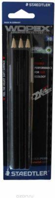 Карандаши чернографитовые WOPEX, HB, 3 штуки, цвет корпуса - черный, Staedtler