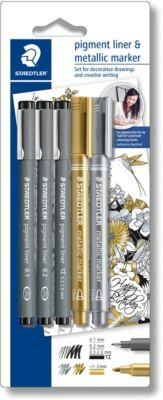 Набор капиллярных ручек Pigment liner, 3 шт.: (0,1/0,2/0,3 мм), цвет черный, 2 маркера: золотой, серебряный, Staedtler, артикул:7379410 - Канцтовары