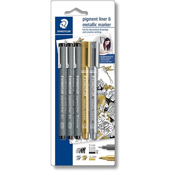 Набор капиллярных ручек Pigment liner, 3 шт.: (0,1/0,2/0,3 мм), цвет черный, 2 маркера: золотой, серебряный, StaedtlerПисьменные принадлежности<br>Набор капиллярных ручек pigment liner 308, 3 штуки, толщина линии (0,1/0,2/0,3-2,0 мм), цвет черный, в блистерной упаковке с подвесом + 1 золотой маркер 8323-11 и 1 серебрянный маркер 8323-81, толщина линии (1,0-2,0 мм). Капиллярные ручки 308 серии идеальны для письма, набросков и черчения. Удлиненный металлический узел идеален для работы с линейками и шаблонами. Пигментные чернила, несмываемые, свето- и водоустойчивые. Стирается с кальки, не размазывается при выделении текстовыделителем. Можно оставить без колпачка на 18 часов и не опасаться высыхания. Корпус из пропилена гарантирует долгий срок службы.<br>Ширина мм: 235; Глубина мм: 91; Высота мм: 19; Вес г: 60; Возраст от месяцев: 108; Возраст до месяцев: 2147483647; Пол: Унисекс; Возраст: Детский; SKU: 7379410;
