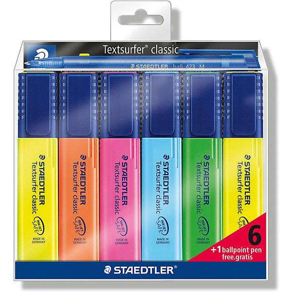 Набор маркеров-текстовыделителей Classic, 6 цветов + ручка 423М, 1-5 мм, StaedtlerПисьменные принадлежности<br>Набор из текстовыделителей 364 серии, 6 цветов + шариковая ручка 423М - бесплатно. Текстовыделители 364 серии с большим объемом чернил для экстра долгой работы. Безопасно для струйных принтеров - не смазывает распечатки и написанный текст. Предназначен для работы на бумаге, факсовой  бумаге и копиях. Быстро высыхает. Для легкого открывания просто нужно повернуть колпачок. Корпус и колпачок из полипропиленв гарантируют долгий срок службы. Безопасно для самолетов - автоматическое выравнивание давления предотвращает от вытекания чернил на борту самолета. Ультра мягкая кисточка приблизительно 1-5 мм.<br>Ширина мм: 147; Глубина мм: 140; Высота мм: 18; Вес г: 162; Возраст от месяцев: 84; Возраст до месяцев: 2147483647; Пол: Унисекс; Возраст: Детский; SKU: 7379423;