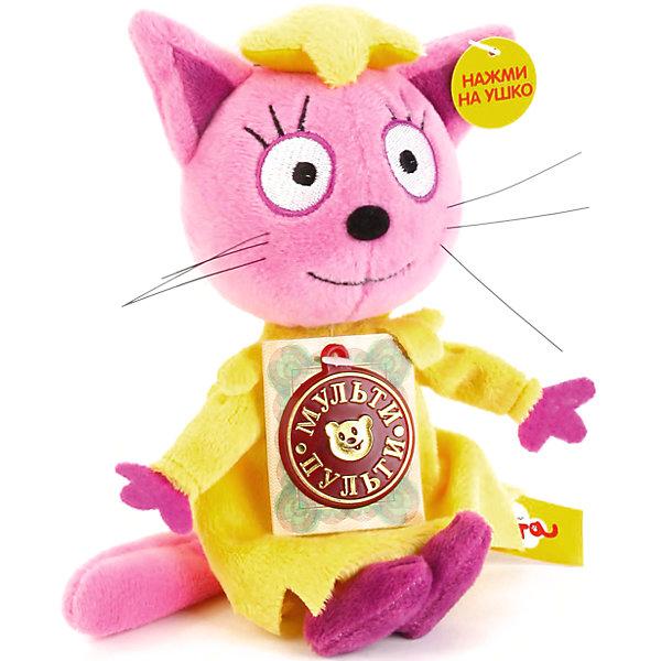 Мягкая игрушка Мульти-Пульти Три кота Лапочка, 13 смМягкие игрушки из мультфильмов<br>Характеристики:<br><br>• возраст: от 3 лет<br>• размер: 13 см.<br>• материал: плюш, наполнитель<br>• работает от батареек<br>• наличие батареек: входят в комплект<br><br>Мягкая игрушка выполнена в виде героини популярного мультфильма «Три кота» - Лапочки. Очаровательная Лапочка одета в нарядное желтое платье.<br><br>Игрушка оснащена звуковым модулем, при активации которого нажатием на ушко игрушки, она развлечет ребенка забавными фразами из любимого мультика и споет песенку (4 фразы и 3 песенки).<br><br>Высота игрушки 13 см, что позволяет ребенку взять Лапочку с собой в детский сад, чтобы вместе с друзьями разыграть любимые сцены из мультфильма.<br><br>Игрушка выполнена из мягкого, приятного на ощупь плюша и гипоаллергенного наполнителя.<br><br>Мягкую игрушку ЛАПОЧКА. 3 Кота, 13 см. можно купить в нашем интернет-магазине.<br>Ширина мм: 600; Глубина мм: 400; Высота мм: 1300; Вес г: 9; Возраст от месяцев: 0; Возраст до месяцев: 84; Пол: Унисекс; Возраст: Детский; SKU: 7379668;