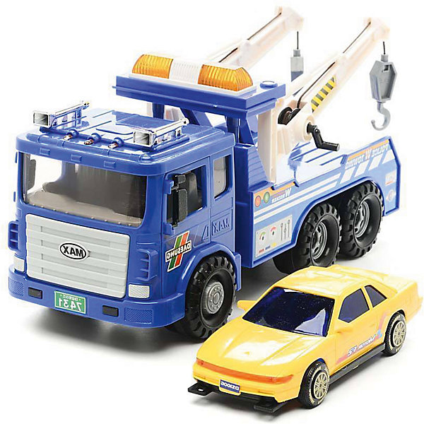 Машинка Daesung Эвакуатор MAX с машинкойМашинки<br>Характеристики:<br><br>• возраст: от 3 лет<br>• комплектация: грузовик-эвакуатор, легковая машинка<br>• размер эвакуатора: 32х16,5х18 см.<br>• материал: пластик<br>• упаковка: красочная картонная коробка<br>• размер упаковки: 40х16х19 см.<br>• вес: 1,363 кг.<br><br>Эвакуатор MAX Daesung (Дайсунг) - это уменьшенная модель автомобиля спецслужб используемого для буксировки автомобилей.<br><br>Эвакуатор хорошо детализирован и тщательно проработан. Две функциональные лебедки с крюками на концах, расположенные в задней части эвакуатора, позволяют зацепить буксируемый автомобиль, трос приводится в движение при помощи специальных рычагов, расположенных на опорах. Двери кабины открываются. В набор также входит небольшой легковой автомобиль для буксировки. Эвакуатор оснащен инерционным механизмом. Колеса с прорезиненными шинами не скользят и не оставляют следов на покрытии.<br><br>Игрушка изготовлена из высококачественного, ударопрочного пластика, абсолютно безопасного для здоровья детей.<br><br>Игрушку машину Daesung, эвакуатор MAX можно купить в нашем интернет-магазине.2<br>Ширина мм: 160; Глубина мм: 400; Высота мм: 190; Вес г: 1363; Возраст от месяцев: 36; Возраст до месяцев: 2147483647; Пол: Мужской; Возраст: Детский; SKU: 7379676;