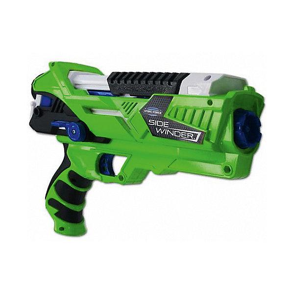 Водный бластер Zing Hydro Force Side Winder со съемным катриджемВодяные пистолеты<br>Характеристики:<br><br>• возраст: от 5 лет<br>• в наборе: бластер Side Winder, картридж для воды (объем: 300 мл.)<br>• дальность «выстрела»: 9 м.<br>• материал: пластик<br>• упаковка: картонная коробка открытого типа<br>• размер упаковки: 32х25,5х8,5 см.<br>• вес: 764 гр.<br><br>Игрушка выполнена в виде бластера для стрельбы водой, яркого зелёного цвета. Оружие снабжено рукояткой удобной эргономичной формы, полностью герметично.<br><br>Водное оружие имеет съёмный картридж, объёмом 300 мл, что позволяет длительно играть без «подзарядки». Выстрел производится лёгким нажатием на курок оружия, бластер легко перезаряжается. Подкачка воды из картриджа осуществляется по принципу насоса: давление нагнетается с помощью специального поршня, встроенного в бластер. Оружие работает в двух режимах: струя и разбрызгивание. Струя воды выстреливается на расстояние 9 метров.<br><br>Изделие выполнено из прочного и качественного пластика.<br><br>Игрушку водное оружие Zing, Hydro Force + картридж на 300мл Side Winder можно купить в нашем интернет-магазине.<br>Ширина мм: 90; Глубина мм: 330; Высота мм: 260; Вес г: 764; Возраст от месяцев: 60; Возраст до месяцев: 2147483647; Пол: Мужской; Возраст: Детский; SKU: 7379678;