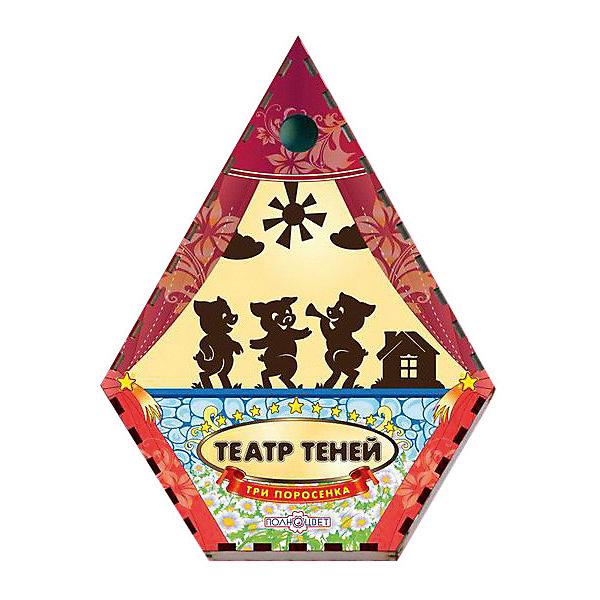 Театр теней Три поросенка цветнойКукольный театр<br>Характеристики:<br><br>• упаковка: плёнка.;<br>• размер упаковки: 22х17 х5см;<br>• состав: дерево, магнит;<br>• вес: 300г.;<br>• для детей в возрасте: от 3лет;<br>• страна производитель: Россия.<br><br>Настольная игра «Три поросёнка» из серии «Театра теней» от компании специализирующейся на создании настольных игр бренда «Полноцвет» станет хорошим подарком для малышей и детей младшего школьного возраста. Она выполнена из высококачественных сортов фанеры и покрыта красками.  В комплект входят красочные фигурки персонажей сказки «Три поросёнка».<br><br>Игра создана для детишек, только начинающих знакомство с театром. Удобная форма и небольшие размеры позволят ребёнку устраивать представления для друзей и родителей в любом месте.<br><br>Играя дети знакомятся с сюжетами русских народных сказок или самостоятельно придумывают разные истории. Любимые герои оживают на сцене, что вдохновляет ребёнка и позволяет развивать грамотность речи, память, воображение, мелкую моторику, а также весело провести время в компании.<br><br>Настольную игру «Три поросёнка» из серии «Театра теней» можно приобрести в нашем интернет-магазине.<br>Ширина мм: 50; Глубина мм: 470; Высота мм: 360; Вес г: 300; Возраст от месяцев: 36; Возраст до месяцев: 84; Пол: Унисекс; Возраст: Детский; SKU: 7379840;