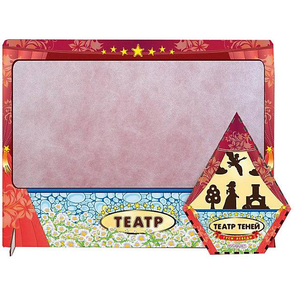 Театр теней Гуси-Лебеди цветной с ширмойКукольный театр<br>Характеристики:<br><br>• упаковка: плёнка.;<br>• размер упаковки: 47х36 х4,5см;<br>• состав: дерево, магнит;<br>• вес: 520г.;<br>• для детей в возрасте: от 3лет;<br>• страна производитель: Россия.<br><br>Настольная игра «Гуси лебеди» из серии «Театра теней» от компании специализирующейся на создании настольных игр бренда «Полноцвет» станет хорошим подарком для малышей и детей младшего школьного возраста. Она выполнена из высококачественных сортов дерева и покрыта красками.  В комплект входит красочная ширма, фигурки персонажей и красивые декорации к сказке «Гуси лебеди».<br><br>Игра создана для детишек, только начинающих знакомство с театром. Удобная форма и небольшие размеры позволят ребёнку устраивать представления для друзей и родителей в любом месте.<br><br>Играя дети знакомятся с сюжетами русских народных сказок или самостоятельно придумывают разные истории. Любимые герои оживают на сцене, что вдохновляет ребёнка и позволяет развивать грамотность речи, память, воображение, мелкую моторику, а также весело провести время в компании.<br><br>Настольную игру «Гуси дебеди» из серии «Театра теней» можно приобрести в нашем интернет-магазине.<br>Ширина мм: 50; Глубина мм: 470; Высота мм: 360; Вес г: 520; Возраст от месяцев: 36; Возраст до месяцев: 84; Пол: Унисекс; Возраст: Детский; SKU: 7379843;