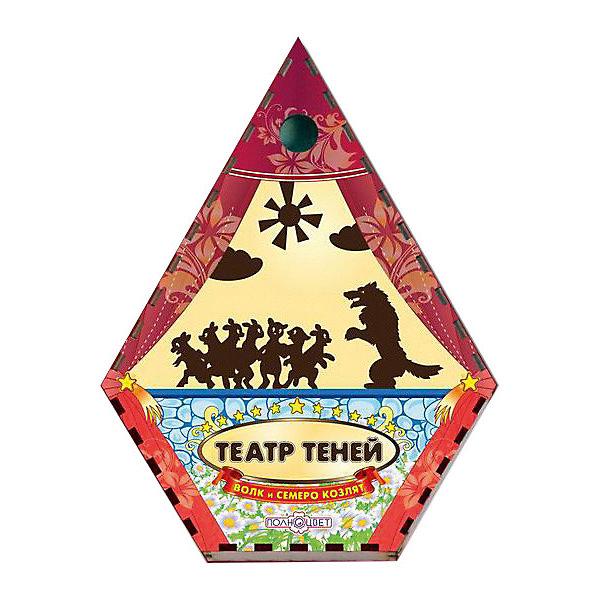 Театр теней Волк и семеро козлят цветнойКукольный театр<br>Характеристики:<br><br>• упаковка: плёнка.;<br>• размер упаковки: 22х17 х5см;<br>• состав: дерево, магнит;<br>• вес: 300г.;<br>• для детей в возрасте: от 3лет;<br>• страна производитель: Россия.<br><br>Настольная игра «Волк и семеро козлят» из серии «Театра теней» от компании специализирующейся на создании настольных игр бренда «Полноцвет» станет хорошим подарком для малышей и детей младшего школьного возраста. Она выполнена из высококачественных сортов фанеры и покрыта красками.  В комплект входят красочные фигурки персонажей сказки «Волк и семеро козлят».<br><br>Игра создана для детишек, только начинающих знакомство с театром. Удобная форма и небольшие размеры позволят ребёнку устраивать представления для друзей и родителей в любом месте.<br><br>Играя дети знакомятся с сюжетами русских народных сказок или самостоятельно придумывают разные истории. Любимые герои оживают на сцене, что вдохновляет ребёнка и позволяет развивать грамотность речи, память, воображение, мелкую моторику, а также весело провести время в компании.<br><br>Настольную игру «Волк и семеро козлят» из серии «Театра теней» можно приобрести в нашем интернет-магазине.<br><br>Ширина мм: 50<br>Глубина мм: 220<br>Высота мм: 170<br>Вес г: 300<br>Возраст от месяцев: 36<br>Возраст до месяцев: 84<br>Пол: Унисекс<br>Возраст: Детский<br>SKU: 7379845