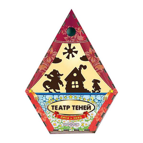 Театр теней Лиса и заяц цветнойКукольный театр<br>Характеристики:<br><br>• упаковка: плёнка.;<br>• размер упаковки: 22х17 х5см;<br>• состав: дерево, магнит;<br>• вес: 220г.;<br>• для детей в возрасте: от 3лет;<br>• страна производитель: Россия.<br><br>Настольная игра «Лиса и заяц» из серии «Театра теней» от компании специализирующейся на создании настольных игр бренда «Полноцвет» станет хорошим подарком для малышей и детей младшего школьного возраста. Она выполнена из высококачественных сортов фанеры и покрыта красками.  В комплект входят красочные фигурки персонажей сказки «Лиса и заяц».<br><br>Игра создана для детишек, только начинающих знакомство с театром. Удобная форма и небольшие размеры позволят ребёнку устраивать представления для друзей и родителей в любом месте.<br><br>Играя дети знакомятся с сюжетами русских народных сказок или самостоятельно придумывают разные истории. Любимые герои оживают на сцене, что вдохновляет ребёнка и позволяет развивать грамотность речи, память, воображение, мелкую моторику, а также весело провести время в компании.<br><br>Настольную игру «Лиса и заяц» из серии «Театра теней» можно приобрести в нашем интернет-магазине.<br>Ширина мм: 50; Глубина мм: 220; Высота мм: 170; Вес г: 220; Возраст от месяцев: 36; Возраст до месяцев: 84; Пол: Унисекс; Возраст: Детский; SKU: 7379846;