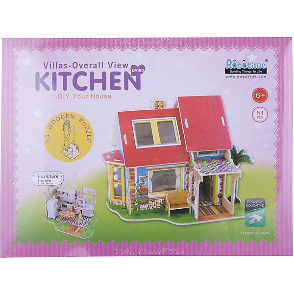 Сборная модель Robotime Дом с кухней3D пазлы<br>Характеристики товара:<br><br>• возраст: от 3 лет;<br>• материал: дерево;<br>• в комплекте: 21 деталь, инструкция;<br>• размер упаковки: 30х23х2 см;<br>• вес упаковки: 620 гр.;<br>• страна производитель: Китай.<br><br>Сборная модель Robotime (Роботайм) Дом с кухней -  это увлекательное хобби, в котором ребенок сможет не только сам собрать домик с уютной кухней, но и раскрасить темперными красками, попробовав себя в роли дизайнера. <br><br>Помимо творческого мышления, сборка поможет развить логику, внимательность и усидчивость.<br><br>Модель входит в серию «Интерьеры дома» Robotime (Роботайм) с цветными деталями. Собрав всю серию ребенок может использовать готовую модель как кукольный домик.<br><br>Детали для сборки расположены на пяти листах шлифованной фанеры. Сборка не требует склеивания. Однако, при желании, для того чтобы усилить устойчивость, можно проклеивать места соединения.<br><br>Сборную модель Robotime (Роботайм) Дом с кухней можно купить в нашем интернет-магазине.<br>Ширина мм: 300; Глубина мм: 225; Высота мм: 15; Вес г: 620; Возраст от месяцев: 72; Возраст до месяцев: 2147483647; Пол: Унисекс; Возраст: Детский; SKU: 7379875;