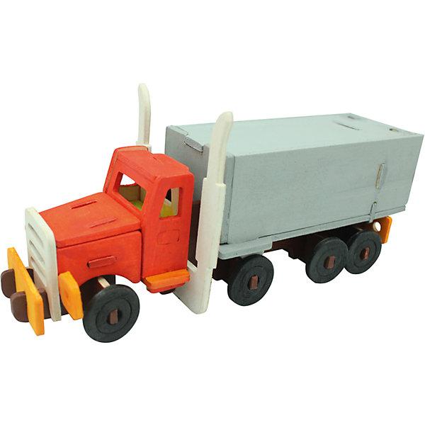 Сборная модель Robotime Американский грузовик3D пазлы<br>Характеристики товара:<br><br>• возраст: от 3 лет;<br>• материал: дерево;<br>• в комплекте: 38 деталей, инструкция;<br>• размер упаковки: 23х19х1 см;<br>• вес упаковки: 250 гр.;<br>• страна производитель: Китай.<br><br>Сборная модель Robotime (Роботайм) Американский грузовик -  это занимательное хобби, в котором ребенок сможет не только сам собрать маленькую копию настоящего американского грузовика, но и раскрасить темперными красками, попробовав себя в роли дизайнера. <br><br>Помимо творческого мышления, сборка поможет развить логику, внимательность и усидчивость.<br><br>Модель входит в серию «Техника» Robotime (Роботайм) с бумажным покрытием. Собрав всю серию ребенок познакомится с увлекательной разнообразной техникой<br> <br>Детали для сборки расположены на двух листах шлифованной фанеры. Сборка не требует склеивания. Однако, при желании, для того чтобы усилить устойчивость, можно проклеивать места соединения.<br><br>Сборную модель Robotime (Роботайм) Американский грузовик можно купить в нашем интернет-магазине.<br><br>Ширина мм: 230<br>Глубина мм: 185<br>Высота мм: 6<br>Вес г: 250<br>Возраст от месяцев: 36<br>Возраст до месяцев: 2147483647<br>Пол: Унисекс<br>Возраст: Детский<br>SKU: 7379906
