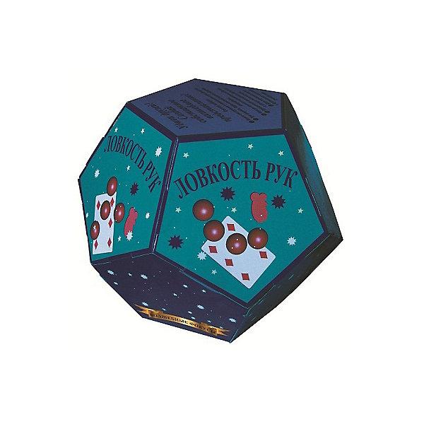 Волшебные фокусы Ловкость рукФокусы и розыгрыши<br>Характеристики:<br><br>• возраст: от 3 лет<br>• в наборе: книга-инструкция с описанием 5 фокусов (16 стр., иллюстрации: цветные); 3 шарика; 1 ложный шарик, 4 поролоновые белки, прозрачная насадка на бутылку, двусторонняя игральная карта<br>• материал: пластик, картон, поролон<br>• упаковка: картонная коробка в форме додекаэдра<br>• размер: 15х15х12,5 см.<br>• вес: 200 гр.<br><br>Абсолютно всем нравятся фокусы! С набором «Волшебные фокусы Ловкость рук» ребенок сможет освоить пять не сложных фокусов, а потом показать их в компании друзей или родственников, заслужив настоящие аплодисменты.<br><br>Книга с иллюстрациями объяснит, как пользоваться предметами, входящими в набор, чтобы выступление начинающего артиста прошло идеально.<br><br>Набор «Волшебные фокусы Ловкость рук» можно купить в нашем интернет-магазине.<br><br>Ширина мм: 150<br>Глубина мм: 150<br>Высота мм: 125<br>Вес г: 200<br>Возраст от месяцев: 36<br>Возраст до месяцев: 2147483647<br>Пол: Унисекс<br>Возраст: Детский<br>SKU: 7380163