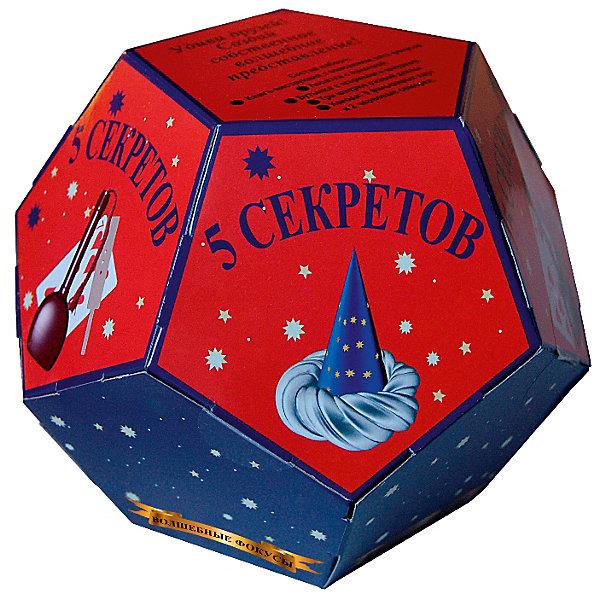 Волшебные фокусы Пять секретовФокусы и розыгрыши<br>Характеристики:<br><br>• возраст: от 3 лет<br>• в наборе: книга-инструкция с описанием 5 фокусов (16 стр., иллюстрации: цветные); лопатка с палочкой; бутылка с шариком и шнурком; три шнурка разной длины; колода карт (5 фальшивых карт, 2 червовые семерки).<br>• материал: пластик, картон, резина, текстиль<br>• упаковка: картонная коробка в форме додекаэдра<br>• размер: 15х15х12,5 см.<br>• вес: 200 гр.<br><br>Абсолютно всем нравятся фокусы! С набором «Волшебные фокусы Пять секретов» ребенок сможет освоить пять не сложных фокусов, а потом показать их в компании друзей или родственников, заслужив настоящие аплодисменты.<br><br>Книга с иллюстрациями объяснит, как пользоваться предметами, входящими в набор, чтобы выступление начинающего артиста прошло идеально.<br><br>Набор «Волшебные фокусы Пять секретов» можно купить в нашем интернет-магазине.<br>Ширина мм: 150; Глубина мм: 150; Высота мм: 125; Вес г: 200; Возраст от месяцев: 36; Возраст до месяцев: 2147483647; Пол: Унисекс; Возраст: Детский; SKU: 7380164;