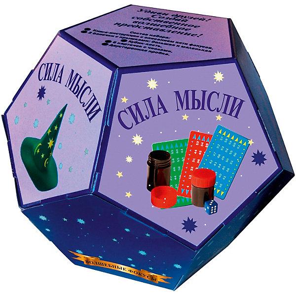 Волшебные фокусы Сила мыслиФокусы и розыгрыши<br>Характеристики:<br><br>• возраст: от 3 лет<br>• в наборе: книга-инструкция с описанием 5 фокусов (16 стр., иллюстрации: цветные); 2 баночки с крышками (большая и маленькая); кубик-кость; 6 карточек с числами; двусторонняя пробка.<br>• материал: пластик, картон, резина<br>• упаковка: картонная коробка в форме додекаэдра<br>• размер: 15х15х12,5 см.<br>• вес: 200 гр.<br><br>Абсолютно всем нравятся фокусы! С набором «Волшебные фокусы Сила мысли» ребенок сможет освоить пять не сложных фокусов, а потом показать их в компании друзей или родственников, заслужив настоящие аплодисменты.<br><br>Книга с иллюстрациями объяснит, как пользоваться предметами, входящими в набор, чтобы выступление начинающего артиста прошло идеально.<br><br>Набор «Волшебные фокусы Сила мысли» можно купить в нашем интернет-магазине.<br>Ширина мм: 150; Глубина мм: 150; Высота мм: 125; Вес г: 200; Возраст от месяцев: 36; Возраст до месяцев: 2147483647; Пол: Унисекс; Возраст: Детский; SKU: 7380165;