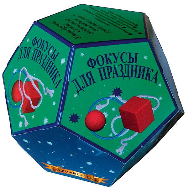 Волшебные фокусы Фокусы для праздникаФокусы и розыгрыши<br>Характеристики:<br><br>• возраст: от 3 лет<br>• в наборе: книга-инструкция с описанием 5 фокусов (16 стр., иллюстрации: цветные); поролоновый кубик с дырочкой на одной грани; два поролоновых шарика; одна длинная толстая веревка; кольцо, диаметром 6,5 см;<br>• материал: пластик, поролон, текстиль<br>• упаковка: картонная коробка в форме додекаэдра<br>• размер: 15х15х12,5 см.<br>• вес: 200 гр.<br><br>Абсолютно всем нравятся фокусы! С набором «Волшебные фокусы. Фокусы для праздника» ребенок сможет освоить пять не сложных фокусов, а потом показать их в компании друзей или родственников, заслужив настоящие аплодисменты.<br><br>Книга с иллюстрациями объяснит, как пользоваться предметами, входящими в набор, чтобы выступление начинающего артиста прошло идеально.<br><br>Набор «Волшебные фокусы Фокусы для праздника» можно купить в нашем интернет-магазине.<br><br>Ширина мм: 150<br>Глубина мм: 150<br>Высота мм: 125<br>Вес г: 200<br>Возраст от месяцев: 36<br>Возраст до месяцев: 2147483647<br>Пол: Унисекс<br>Возраст: Детский<br>SKU: 7380166