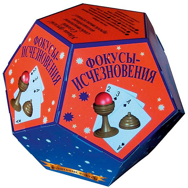 Волшебные фокусы Фокусы-исчезновенияФокусы и розыгрыши<br>Характеристики:<br><br>• возраст: от 3 лет<br>• в наборе: книга-инструкция с описанием 5 фокусов (16 стр., иллюстрации: цветные); золотая чаша; насадка с фальшивым шариком; крышка к чаше; шарик; наперсток «Палец»; набор из 4-х карт(тройка пики, туз пик, разрезанная двойка пики, карта с картинкой «стакан с лимонадом»).<br>• материал: пластик, картон<br>• упаковка: картонная коробка в форме додекаэдра<br>• размер: 15х15х12,5 см.<br>• вес: 200 гр.<br><br>Абсолютно всем нравятся фокусы! С набором «Волшебные фокусы. Фокусы-исчезновения» ребенок сможет освоить пять не сложных фокусов, а потом показать их в компании друзей или родственников, заслужив настоящие аплодисменты.<br><br>Книга с иллюстрациями объяснит, как пользоваться предметами, входящими в набор, чтобы выступление начинающего артиста прошло идеально.<br><br>Набор «Волшебные фокусы Фокусы-исчезновения» можно купить в нашем интернет-магазине.<br><br>Ширина мм: 150<br>Глубина мм: 150<br>Высота мм: 125<br>Вес г: 200<br>Возраст от месяцев: 36<br>Возраст до месяцев: 2147483647<br>Пол: Унисекс<br>Возраст: Детский<br>SKU: 7380169