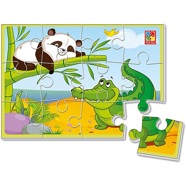 Мягкие пазлы А5 ЩекотунПазлы для малышей<br>Характеристики товара:<br><br>• возраст: от 2 лет;<br>• пол: для девочек и мальчиков;<br>• количество элементов: 12 шт.;<br>• тип пазла: мягкий;<br>• из чего сделана игрушка (состав): текстиль;<br>• размер собранного пазла: формат А5;<br>• размер упаковки: 0,4х18х28,5 см.;<br>• вес: 80 гр.;<br>• страна обладатель бренда: Украина.<br><br>На картинке замирает интересный фрагмент из жизни удивительного зверя. Панда-проказник приготовилась щекотать крокодила.<br><br>Ребенок может придумывать разные истории, связанные с героем, фантазировать и мечтать.<br><br>Мягкий пазл это не только прекрасная забава, но и отличная декорация. Помогите ребенку украсить комнату готовой картинкой.<br><br>Складывание пазлов дисциплинирует, воспитывает усидчивость, развивает внимание.<br><br>Мягкий пазл «Щекотун» можно купить в нашем интернет-магазине.<br><br>Ширина мм: 4<br>Глубина мм: 180<br>Высота мм: 285<br>Вес г: 80<br>Возраст от месяцев: 24<br>Возраст до месяцев: 2147483647<br>Пол: Унисекс<br>Возраст: Детский<br>SKU: 7380263