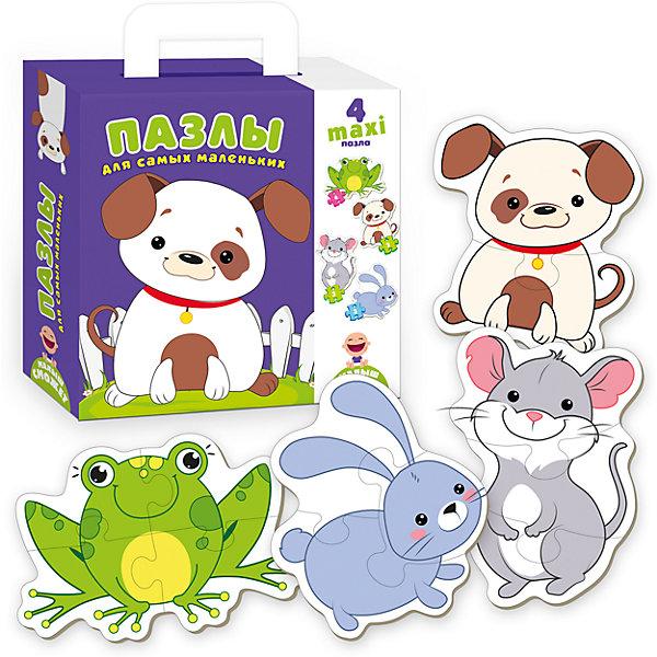 Пазлы для самых маленьких СобачкаПазлы для малышей<br>Характеристики товара:<br><br>• возраст: от 3 лет;<br>• пол: для девочек и мальчиков;<br>• количество элементов: 12 шт.;<br>• из чего сделана игрушка (состав): картон;<br>• размер упаковки: 0,5х18х21,5 см.;<br>• вес: 260 гр.;<br>• упаковка: картонная коробка;<br>• толщина 1 детали пазла: 0,2 см.;<br>• страна обладатель бренда: Украина.<br><br>Пазл «Для самых маленьких: Собачка» позволит ребенку собрать четыре плоские фигурки животных. <br><br>В комплект входят 12 цветных картонных деталей, из которых можно собрать собачку, мышку, лягушку и зайчика.<br><br>Малыш будет увлечен сборкой пазлов, совершенствуя мелкую моторику, воображение, внимание и сообразительность.<br><br>Пазл «Собачка» можно купить в нашем интернет-магазине.<br>Ширина мм: 50; Глубина мм: 180; Высота мм: 215; Вес г: 260; Возраст от месяцев: 36; Возраст до месяцев: 2147483647; Пол: Унисекс; Возраст: Детский; SKU: 7380266;