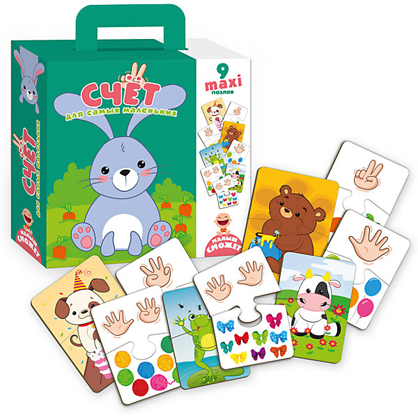 Пазлы-двойняшки  для самых маленьких СчетПазлы для малышей<br>Характеристики товара:<br><br>• возраст: от 3 лет;<br>• пол: для девочек и мальчиков;<br>• количество элементов: 12 шт.;<br>• из чего сделана игрушка (состав): картон;<br>• размер упаковки: 0,5х18х21,5 см.;<br>• вес: 686 гр.;<br>• упаковка: картонная коробка;<br>• толщина 1 детали пазла: 0,2 см.;<br>• страна обладатель бренда: Украина.<br><br>Пазл «Учись считать с забавными зверушками» для самых маленьких интересная и познавательная игра, которая поможет малышу с легкостью научиться считать, развить память, внимание, мышление, речь и мелкую моторику. <br><br>Особенности: крупные детали, толстый не гнущийся картон. <br><br>Комплектация: 9 двойных двусторонних пазлов.<br><br>Пазл для самых маленьких «Счет» можно купить в нашем интернет-магазине.<br>Ширина мм: 50; Глубина мм: 180; Высота мм: 215; Вес г: 686; Возраст от месяцев: 36; Возраст до месяцев: 2147483647; Пол: Унисекс; Возраст: Детский; SKU: 7380267;