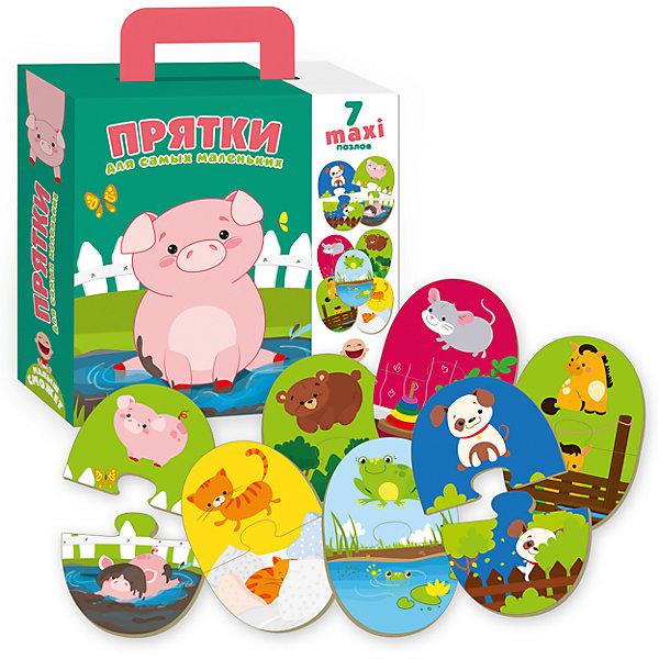 Пазлы-двойняшки  для самых маленьких ПряткиПазлы для малышей<br>Характеристики товара:<br><br>• возраст: от 3 лет;<br>• пол: для девочек и мальчиков;<br>• количество элементов: 14 шт.;<br>• из чего сделана игрушка (состав): картон;<br>• размер упаковки: 0,5х18х21,5 см.;<br>• вес: 538 гр.;<br>• упаковка: картонная коробка;<br>• страна обладатель бренда: Украина.<br><br>Пазл «Прятки» из линейки для самых маленьких, представлен торговой маркой Vladi Toys, состоит из 14 элементов.<br><br>На деталях с двух сторон изображены разные животные и места их обитания. Малыши смогут учиться складывать элементы пазла, чтобы получилась целая картинка, а на обороте будет нарисован зверек в своем домике. <br><br>Такое увлекательное занятие способствует развитию внимания и памяти, а также мелкой моторики.<br><br>Пазл для самых маленьких «Прятки» можно купить в нашем интернет-магазине.<br>Ширина мм: 50; Глубина мм: 180; Высота мм: 215; Вес г: 538; Возраст от месяцев: 36; Возраст до месяцев: 2147483647; Пол: Унисекс; Возраст: Детский; SKU: 7380268;