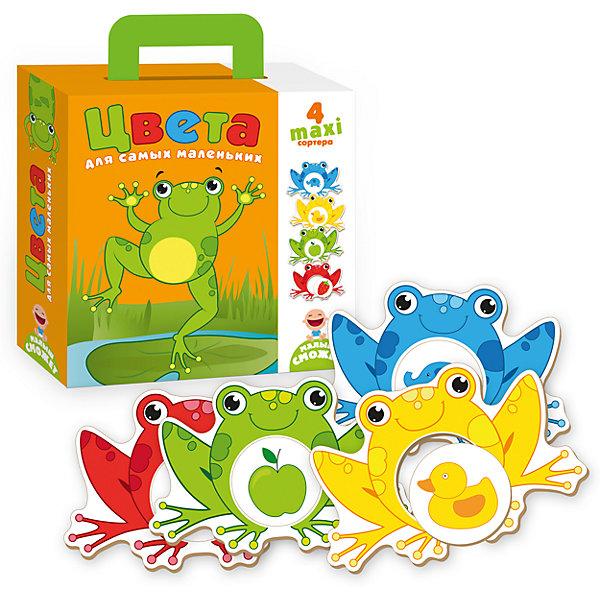 Сортеры для самых маленьких ЦветаРамки-вкладыши<br>Характеристики товара:<br><br>• возраст: от 3 лет;<br>• пол: для девочек и мальчиков;<br>• комплект: 4 карточки сортера, 4 съемных детали;<br>• из чего сделана игрушка (состав): картон;<br>• размер упаковки: 0,5х18х21,5 см.;<br>• вес: 405 гр.;<br>• упаковка: картонная коробка;<br>• страна обладатель бренда: Украина.<br><br>Настольная игра «Цвета для самых маленьких» представляет собой набор из фигурных разноцветных лягушат и различных предметов, вырезанных из высококачественного картона.<br><br>Малышу нужно подобрать предмет по цветовому признаку и вставить его в карточку, изображающую лягушонка. Таким образом, малыш освоит цвета, развивая зрительное восприятие и память. <br><br>На оборотной стороне лягушат новое задание отличать не цвета, а их оттенки. <br><br>Эта игра предназначена для развивающих занятий с малышом.<br><br>Настольную игру для самых маленьких «Цвета» можно купить в нашем интернет-магазине.<br><br>Ширина мм: 50<br>Глубина мм: 180<br>Высота мм: 215<br>Вес г: 405<br>Возраст от месяцев: 36<br>Возраст до месяцев: 2147483647<br>Пол: Унисекс<br>Возраст: Детский<br>SKU: 7380270