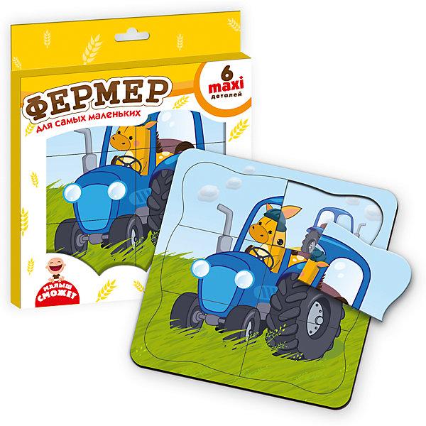 Пазл-рамка ФермерРамки-вкладыши<br>Характеристики товара:<br><br>• возраст: от 3 лет;<br>• пол: для девочек и мальчиков;<br>• комплект: двухслойная рамка 1 шт., детали пазла 6 шт.;<br>• из чего сделана игрушка (состав): картон;<br>• размер упаковки: 0,1х22х26 см.;<br>• вес: 20 гр.;<br>• упаковка: картонная коробка;<br>• страна обладатель бренда: Украина.<br><br>Пазл рамка представляет из себя двухслойную основу с пейзажем поля. <br><br>Фермер сидит на траве, а позади – его трактор. Малыш должен сложить пазл так, чтобы лошадка поехала на тракторе. Пора заводить мотор и собирать урожай.<br><br>Рамка удерживает детали вместе, благодаря чему пазл не распадается. Деревообразные детали прочные и надежные.<br><br>Плотная картонная прослойка делает их объемными и удобными для детской ладошки.<br><br>Пазл рамку «Фермер» можно купить в нашем интернет-магазине.<br>Ширина мм: 10; Глубина мм: 220; Высота мм: 260; Вес г: 20; Возраст от месяцев: 36; Возраст до месяцев: 2147483647; Пол: Унисекс; Возраст: Детский; SKU: 7380272;
