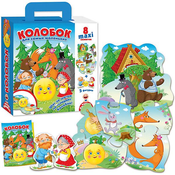 Пазл-игра путешествие по сказке КолобокПазлы для малышей<br>Характеристики товара:<br><br>• возраст: от 3 лет;<br>• пол: для девочек и мальчиков;<br>• комплект: игровое поле, 4 фишки, кубик;<br>• количество предполагаемых игроков: 2-4;<br>• из чего сделана игрушка (состав): картон, пластик;<br>• размер упаковки: 6х21,5х26 см.;<br>• вес: 360 гр.;<br>• упаковка: картонная коробка;<br>• страна обладатель бренда: Россия.<br><br>Настольная игра «Колобок» отличная идея для проведения детского досуга. <br><br>Все ребята хорошо знают эту интересную историю про круглого сдобного персонажа. Теперь же им вместе с колобком предстоит отправиться в лес и постараться не попасть в лапы к хитрым животным. <br><br>В набор входят красочное игровое поле, выполненное из картона, а также 4 фишки и кубик.<br><br>Пазл игру путешествие по сказке «Колобок» можно купить в нашем интернет-магазине.<br><br>Ширина мм: 60<br>Глубина мм: 215<br>Высота мм: 260<br>Вес г: 360<br>Возраст от месяцев: 12<br>Возраст до месяцев: 2147483647<br>Пол: Унисекс<br>Возраст: Детский<br>SKU: 7380275