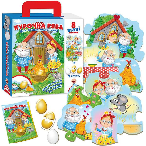 Пазл-игра  путешествие по сказке Курочка РябаПазлы для малышей<br>Характеристики товара:<br><br>• возраст: от 1 года;<br>• пол: для девочек и мальчиков;<br>• комплект: 8 деталей сюжета, 3 фигурки персонажа, сказка;<br>• из чего сделана игрушка (состав): картон;<br>• размер упаковки: 6х21,5х26 см.;<br>• вес: 360 гр.;<br>• упаковка: картонная коробка;<br>• страна обладатель бренда: Россия.<br><br>Настольная игра «Курочка Ряба» для самых маленьких предлагает поиграть со сказкой. <br><br>Читайте ребенку слово за словом, а он пускай раскладывает историю на своем столе. Вот Ряба снесла золотое яичко, потом оно разбилось, теперь яичко простое. <br><br>Игра изготовлена из прочного деревообразного картона, но не стоит пробовать на зуб. Для гарантии безопасности детали помещены в дополнительную защитную упаковку.<br><br>Пазл игру путешествие по сказке «Курочка Ряба» можно купить в нашем интернет-магазине.<br>Ширина мм: 60; Глубина мм: 215; Высота мм: 260; Вес г: 360; Возраст от месяцев: 12; Возраст до месяцев: 2147483647; Пол: Унисекс; Возраст: Детский; SKU: 7380276;