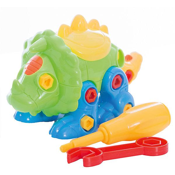 Конструктор ABtoys Динозавр, желто-зеленыйПластмассовые конструкторы<br>Характеристики:<br><br>• возраст: от 3 лет<br>• в наборе: детали конструктора, гаечный ключ, отвёртка, крепления<br>• материал: пластик<br>• упаковка: пакет с хедером<br>• размер упаковки: 21x23x4 см.<br>• вес: 140 гр.<br><br>Конструктор «Динозавр» от компании «ABtoys» позволит детям проявить свои конструкторские навыки, логическое и пространственное мышление, а также научит пользоваться основными инструментами - гаечным ключом и отверткой.<br><br>Из деталей данного конструктора ребенок сможет собрать забавную фигурку динозавра, с подвижными частями тела. Детали конструктора – крупные, соединяются друг с другом с помощью винтиков и болтиков, все отверстия для креплений выполнены с особенной точностью.<br><br>Элементы набора изготовлены из прочного пластика, окрашены безопасными красителями.<br><br>Конструктор Abtoys Динозавр, желто-зеленый можно купить в нашем интернет-магазине.<br>Ширина мм: 210; Глубина мм: 230; Высота мм: 40; Вес г: 140; Возраст от месяцев: 36; Возраст до месяцев: 2147483647; Пол: Мужской; Возраст: Детский; SKU: 7410490;
