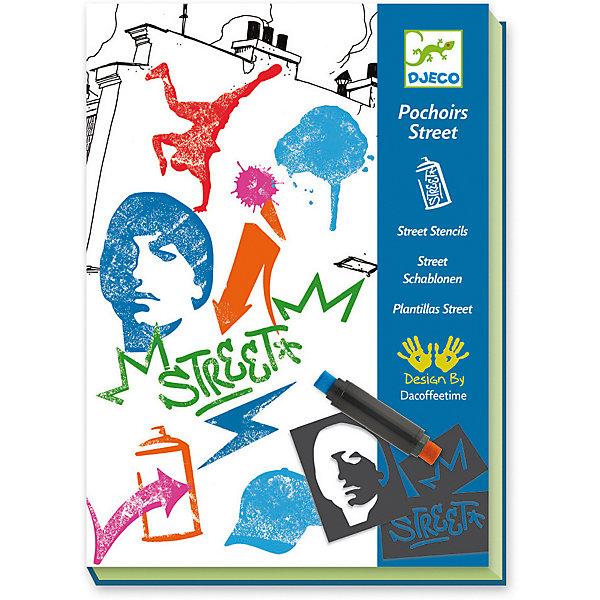 Набор для творчества Уличные трафареты, DjecoДетские трафареты<br>Превосходный набор Уличные трафареты от французского производителя Djeco станет увлекательной творческой игрой для детей в возрасте от 7 до 13 лет! Красивый творческий набор для детей, который поможет развить творческий потенциал ребенка, привить любовь к творчеству, аккуратность, усидчивость и внимательность. Прекрасные произведения создаются при помощи шаблона-основы, многоразовых наклеек и штампов. В набор входит: - 6 картинок-основ с уличными сюжетами, - многоразовые наклейки-трафареты, - 3 чернильных штампа разных цветов, - пошаговая инструкция. Красочная подробная инструкция с примерами подскажет детям, как нужно создавать изображения, однако, можно следовать и собственному воображению и придумывать совершенно особенные картинки. Набор продается в красивой подарочной коробке. Все детали набора выполнены аккуратно и качественно и безопасны для детей. Купить набор для творчества Уличные трафареты Djeco в нашем интернет магазине вы можете уже сегодня, с доставкой в удобное для вас время в Москву, Санкт-Петербург и другие регионы России.<br><br>Ширина мм: 41<br>Глубина мм: 165<br>Высота мм: 231<br>Вес г: 385<br>Возраст от месяцев: 36<br>Возраст до месяцев: 2147483647<br>Пол: Унисекс<br>Возраст: Детский<br>SKU: 7414627