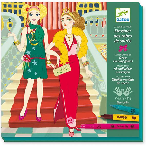 Раскраска «Вечерние платья», DjecoНаборы для раскрашивания<br>Набор для творчества - раскраска Вечерние платья от компании Djeco (Джеко) поможет воплотить все фантазии юного модельера! Можно будет подбирать и раскрашивать фоны, моделей, украшать их аксессуарами и нарядами, создавая оригинальные наряды и коллекции! В комплекте: - 24 картинки с моделями для одежды, - 6 листов с деталями нарядов, - 3 листа с аксессуарами, - 8 двухсторонних фломастеров (с одной стороны мягкая кисть, с другой тонкий грифель), - инструкция. Представленный набор для творчества развивает у ребенка усидчивость, мелкую моторику, воображение, творческое мышление. Набор продается в красивой подарочной коробке, в которой будет удобно хранить все детали. Купить Набор для творчества - раскраска Вечерние платья от французского производителя Djeco можно в нашем интернет магазине Konik.ru с доставкой в удобное для Вас время почтой или курьерской компанией!<br>Ширина мм: 240; Глубина мм: 230; Высота мм: 40; Вес г: 720; Возраст от месяцев: 36; Возраст до месяцев: 2147483647; Пол: Унисекс; Возраст: Детский; SKU: 7414644;
