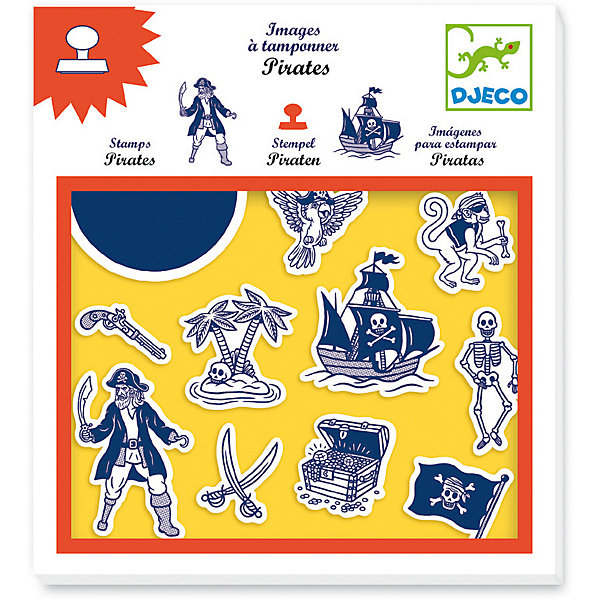 Набор штампов Пираты, DjecoДетские печати и штампы<br>Набор штампов Пираты от французского производителя Djeco поможет вашему ребенку нарисовать картинку с пиратом на необитаемом острове. В набор входят 10 штампов, а также подушечка, пропитанная краской. Перенося изображение на бумагу, а потом раскрасив его или дорисовав что-то самостоятельно, ребенок сможет создать оригинальный и красивый рисунок. В наборе: - 10 штампов, - 1 подушечка с краской. Наборы для детского творчества развивают фантазию, воображение и творческие способности ребенка, учат его внимательности и усидчивости. Набор штампов продается в подарочной коробочке. Французская компания Джеко производит развивающие игрушки и игры для детей, а также наборы для творчества и детали интерьера детской комнаты. Все товары Джеко отличаются высочайшим качеством, необычной идеей исполнения. Изображения и дизайн специально разрабатываются молодыми французскими художниками. Купить наклейки Рыцари от Djeco в нашем интернет магазине Вы можете уже сегодня, с доставкой в удобное для Вас время в Москву, Санкт-Петербург и другие города России!<br>Ширина мм: 210; Глубина мм: 230; Высота мм: 20; Вес г: 130; Возраст от месяцев: 36; Возраст до месяцев: 2147483647; Пол: Унисекс; Возраст: Детский; SKU: 7414667;