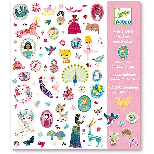 Купить 1001 наклеек для девочек, Djeco, Франция, Унисекс