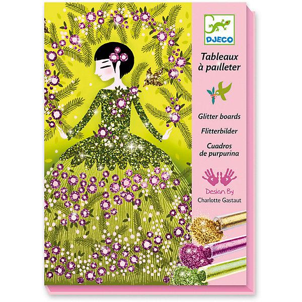 Набор для творчества «Блестящие платья», DjecoДеревья и картины из пайеток<br>Набор для творчества Блестящие платья. Потрясающе красивый набор для детского творчества - раскраска с блестками. Картинка, изображающая прелестных девушек, помещается в коробку, затем необходимо снять пленку с одной детали и засыпать ее выбранным цветом, потом аккуратно смахнуть лишние блестки и высыпать их обратно в тюбик через специальное отверстие в коробке. Ваш ребенок сможет создать удивительные по красоте картинки, переливающиеся и блестящие всеми цветами радуги. В комплекте: - 4 картинки-основы (15 х 21 см), - 6 тюбиков с блестками, - палочка-стек, - кисть, - инструкция. Наборы для детского творчества развивают фантазию, воображение и творческие способности ребенка, учат его внимательности и усидчивости. Купить набор для творчества Блестящие платья от французской компании Djeco Вы можете в нашем интернет магазине уже сегодня с доставкой по всей России в любое удобное для вас время.<br>Ширина мм: 230; Глубина мм: 170; Высота мм: 40; Вес г: 450; Возраст от месяцев: 36; Возраст до месяцев: 2147483647; Пол: Унисекс; Возраст: Детский; SKU: 7414684;