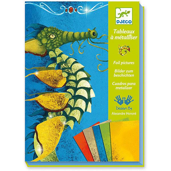 Набор для творчества Гильдия драконов, DjecoАппликации из бумаги<br>Удивительно красивый переливающийся на свету набор для детского творчества Djeco. С помощью фольги разных цветов ребенок с удовольствием будет украшать картинки, изображающие сказочных драконов. В комплекте: - 4 клейких листа (150 х 210 мм), - 9 листов фольги, - стек, - пошаговая инструкция. Размеры: 16,5 х 23 х 4 см<br>Ширина мм: 230; Глубина мм: 170; Высота мм: 40; Вес г: 1750; Возраст от месяцев: 36; Возраст до месяцев: 2147483647; Пол: Унисекс; Возраст: Детский; SKU: 7414691;