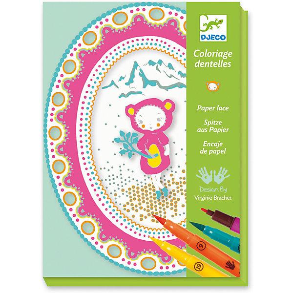 Набор для творчества Кружева, DjecoАппликации из бумаги<br>Невероятно красивый и нежный творческий набор понравится маленьким рукодельницам. Девочка с помощью разноцветных фломастеров создаст разноцветные кружевные композиции, которыми можно украсить стену, книжную полку или окно. Композиция состоит из овальной или круглой основы, фигурки девочки и кружевной рамки. Нужно раскрасить все элементы и соединить их клейкими кубиками - получится нежная объемная кружевная картинка. В комплекте: - 12 бумажных элементов, - 4 цветных фломастера, - 25 клейких кубиков, - пошаговая инструкция. Всего из одного набора получится 4 разных композиции.<br>Ширина мм: 230; Глубина мм: 170; Высота мм: 40; Вес г: 360; Возраст от месяцев: 36; Возраст до месяцев: 2147483647; Пол: Унисекс; Возраст: Детский; SKU: 7414694;