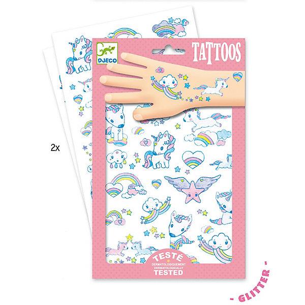 Татуировки Единорог, DjecoПереводные тату<br>Детские татуировки для ребенка Единорог от французской компании Djeco придутся по душе маленьким модникам и сделают их образ необычным и интересным. Татуировки легко приклеиваются и отклеиваются с кожи ребенка, как наклейки. Они дерматологически протестированы и безопасны для ребенка, не раздражают кожу. В комплекте: 2 листа с татуировками в виде очаровательных единорогов, сердечек, радуги и облачков. Украшение себя яркими татуировками станет отличным развлечением для детской вечеринки или веселой игры с друзьями.  Набор продается в подарочной упаковке. У нас вы можете купить татуировки для ребенка Единорог от французской компании Djeco (Джеко) по самой привлекательной цене с доставкой по всей России.<br>Ширина мм: 3; Глубина мм: 147; Высота мм: 230; Вес г: 39; Возраст от месяцев: 36; Возраст до месяцев: 2147483647; Пол: Унисекс; Возраст: Детский; SKU: 7414697;