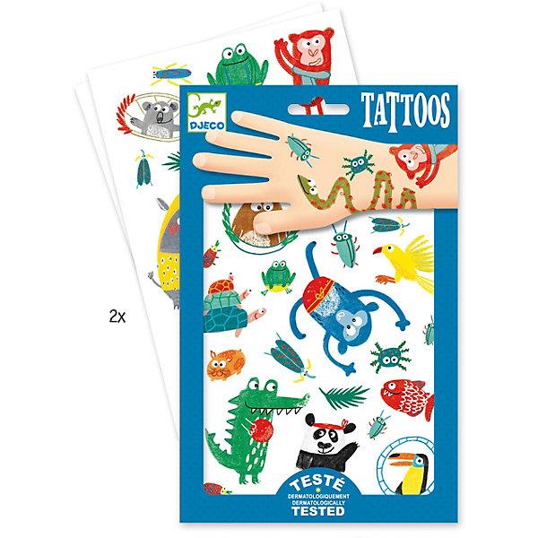 Татуировки Животные, DjecoПереводные тату<br>Детские татуировки для ребенка Животные от французской компании Djeco придутся по душе маленьким модникам и сделают их образ необычным и интересным. Татуировки легко приклеиваются и отклеиваются с кожи ребенка, как наклейки. Они дерматологически протестированы и безопасны для ребенка, не раздражают кожу. В комплекте: 2 листа с татуировками в виде забавных ярких животных. Украшение себя яркими татуировками станет отличным развлечением для детской вечеринки или веселой игры с друзьями.  Набор продается в подарочной упаковке. У нас вы можете купить татуировки для ребенка Животные от французской компании Djeco (Джеко) по самой привлекательной цене с доставкой по всей России.<br>Ширина мм: 3; Глубина мм: 147; Высота мм: 230; Вес г: 39; Возраст от месяцев: 36; Возраст до месяцев: 2147483647; Пол: Унисекс; Возраст: Детский; SKU: 7414698;