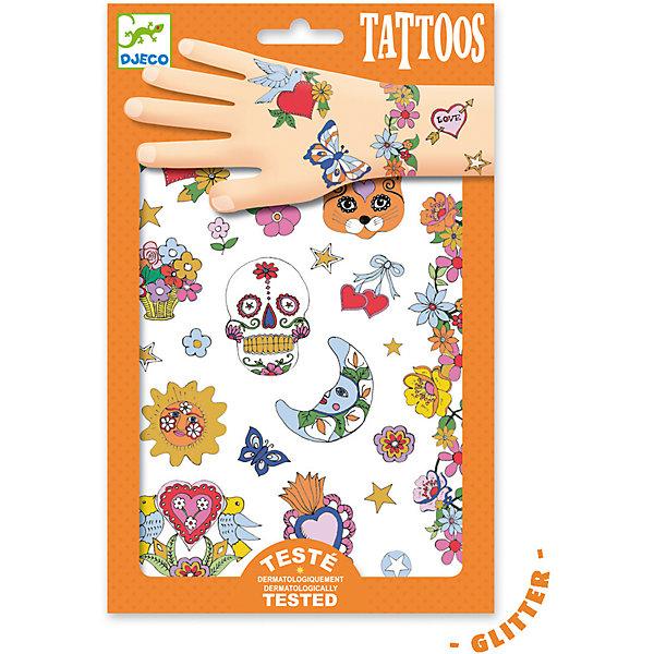 Татуировки Мексиканская фиеста, DjecoПереводные тату<br>Детские татуировки для ребенка Мексиканская фиеста от французской компании Djeco придутся по душе маленьким модникам и сделают их образ необычным и интересным. Татуировки легко приклеиваются и отклеиваются с кожи ребенка, как наклейки. Они дерматологически протестированы и безопасны для ребенка, не раздражают кожу. В комплекте: 2 листа с татуировками в виде необычных рисунков с цветами и забавными символами. Украшение себя яркими татуировками станет отличным развлечением для детской вечеринки или веселой игры с друзьями.  Набор продается в подарочной упаковке. У нас вы можете купить татуировки для ребенка Мексиканская фиеста от французской компании Djeco (Джеко) по самой привлекательной цене с доставкой по всей России.<br>Ширина мм: 3; Глубина мм: 147; Высота мм: 230; Вес г: 39; Возраст от месяцев: 36; Возраст до месяцев: 2147483647; Пол: Унисекс; Возраст: Детский; SKU: 7414700;