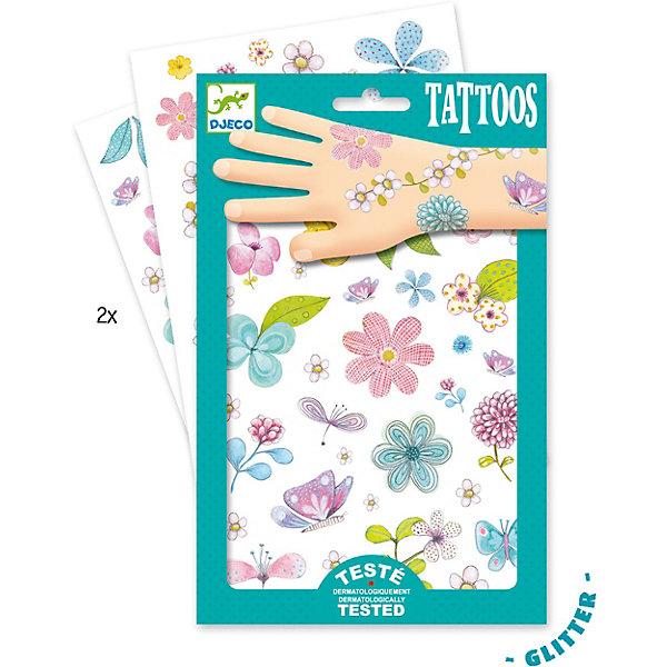 Татуировки Цветы, DjecoПереводные тату<br>Детские блестящие татуировки для ребенка Цветы от французской компании Djeco придутся по душе маленьким модникам и сделают их образ необычным и интересным. Татуировки легко приклеиваются и отклеиваются с кожи ребенка, как наклейки. Они дерматологически протестированы и безопасны для ребенка, не раздражают кожу. В комплекте: 2 листа с блестящими татуировками в виде красивых цветов и бабочек. Украшение себя яркими татуировками станет отличным развлечением для детской вечеринки или веселой игры с друзьями.  Набор продается в подарочной упаковке. У нас вы можете купить татуировки для ребенка Цветы от французской компании Djeco (Джеко) по самой привлекательной цене с доставкой по всей России.<br>Ширина мм: 1; Глубина мм: 145; Высота мм: 230; Вес г: 39; Возраст от месяцев: 36; Возраст до месяцев: 2147483647; Пол: Унисекс; Возраст: Детский; SKU: 7414704;