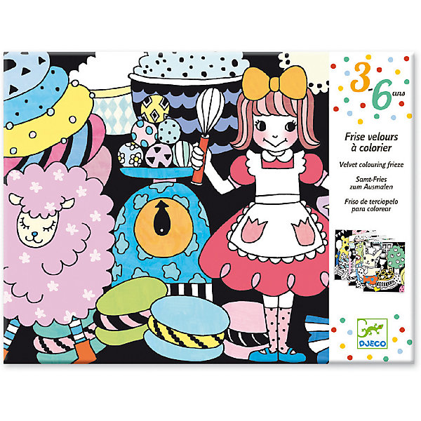 Бархатная раскраска Сладости, DjecoРаскраски для детей<br>Бархатная раскраска Сладости от французского производителя Djeco - это великолепная большая раскраска, которая приведет в восторг творческих малышей. <br><br>В наборе ребенок найдет раскраску длиной 126 см. с изображением тортиков, кексов, конфет, пирожный и забавных персонажей, которые готовят сладости. Черные участки раскраски покрыты мягким и приятным бархатным напылением. Ребенку нужно раскрасить белые участки красками, карандашами или фломастерами. В результате получится яркая и насыщенная картинка, которой можно украсить детскую комнату или подарить в подарок маме или подружке. <br><br>Раскраска подарит детям радость самовыражения, поможет развивать усидчивость, воображение, мелкую моторику, цветовосприятие и творческое мышление. <br><br>Дизайнеры фирмы Djeco придумали бархатный фон, который дает возможность малышу красиво раскрасить изображение, не выходя за пределы зоны раскрашивания. Благодаря этому рисунки получаются яркие и аккуратные. <br><br>Французская компания Джеко производит развивающие игрушки и игры для детей, а также наборы для творчества и детали интерьера детской комнаты. Все товары Джеко отличаются высочайшим качеством, необычной идеей исполнения. Изображения и дизайн специально разрабатываются молодыми французскими художниками.<br><br>Ширина мм: 230<br>Глубина мм: 220<br>Высота мм: 10<br>Вес г: 130<br>Возраст от месяцев: 36<br>Возраст до месяцев: 2147483647<br>Пол: Унисекс<br>Возраст: Детский<br>SKU: 7414706