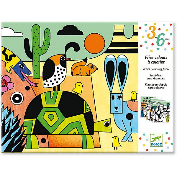 Бархатные раскраски Колорадо, DjecoРаскраски для детей<br>Бархатная раскраска Колорадо от французского производителя Djeco - это великолепная большая раскраска, которая приведет в восторг творческих малышей. <br><br>В наборе ребенок найдет раскраску длиной 126 см. с изображением горной местности Колорадо и животных, которые там обитают. Черные участки раскраски покрыты мягким и приятным бархатным напылением. Ребенку нужно раскрасить белые участки красками, карандашами или фломастерами. В результате получится яркая и насыщенная картинка, которой можно украсить детскую комнату или подарить в подарок маме или подружке. <br><br>Раскраска подарит детям радость самовыражения, поможет развивать усидчивость, воображение, мелкую моторику, цветовосприятие и творческое мышление. <br><br>Дизайнеры фирмы Djeco придумали бархатный фон, который дает возможность малышу красиво раскрасить изображение, не выходя за пределы зоны раскрашивания. Благодаря этому рисунки получаются яркие и аккуратные. <br><br>Французская компания Джеко производит развивающие игрушки и игры для детей, а также наборы для творчества и детали интерьера детской комнаты. Все товары Джеко отличаются высочайшим качеством, необычной идеей исполнения. Изображения и дизайн специально разрабатываются молодыми французскими художниками.<br><br>Ширина мм: 220<br>Глубина мм: 230<br>Высота мм: 0<br>Вес г: 130<br>Возраст от месяцев: 36<br>Возраст до месяцев: 2147483647<br>Пол: Унисекс<br>Возраст: Детский<br>SKU: 7414707